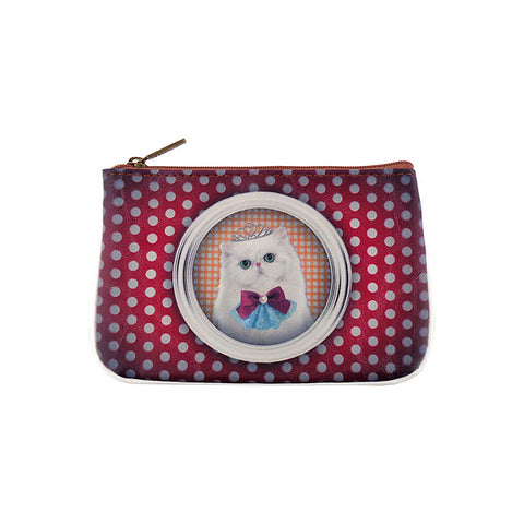 Shop Mlavi Studio's Eco-friendly vegan leather small pouch/coin purse with green eyed cat princess print. It's great for everyday use & a unique gift for yourself, family & friends. More pet/dog/cat/animal theme fashion accessories are available for wholesale at www.mlavi.com for gift shop & boutique buyers worldwide.