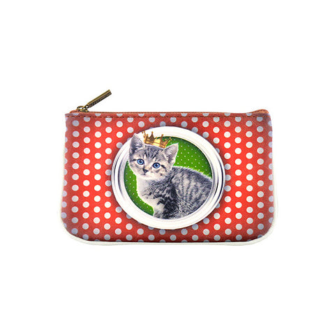 Kawaii cat faux/vegan leather printed pouch