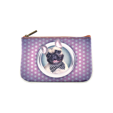 Kawaii dog faux/vegan leather printed pouch