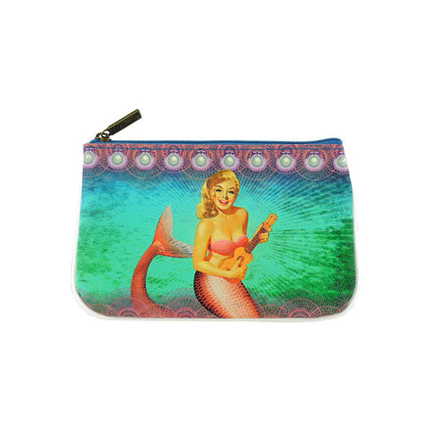 Shop Mlavi's retro pinup gilr style mermaid vegan leather small pouch. Wholesale available at http://mlavi.com/mlavi-mermaid-themed-vegan-bag-wallet-accessories-wholesale.html