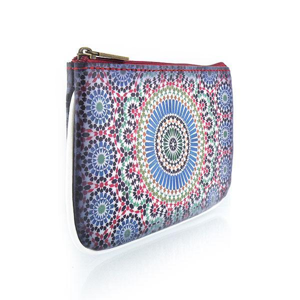 Online shopping for Mlavi Studio's whimsical vegan small pouch/coin purse with Bohemian style Moroccan pattern print. Great for everyday use or as gift for family & friends. Wholesale at www.mlavi.com for gift shops, fashion accessories & clothing boutiques, museum stores worldwide.