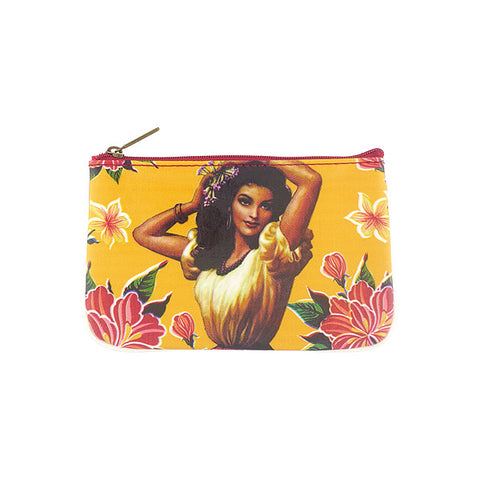Retro Mexican calendar girl faux leather printed pouch - Mlavi