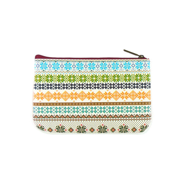 Shop Mlavi's whimsical Nordic Scandinavian pattern print vegan leather small pouch/coin purse made with SGS tested toxic-free Eco-friendly cruelty free vegan materials. Wholesale available at www.mlavi.com for gift shop, fashion accessories & clothing boutique in Canada, USA & worldwide.