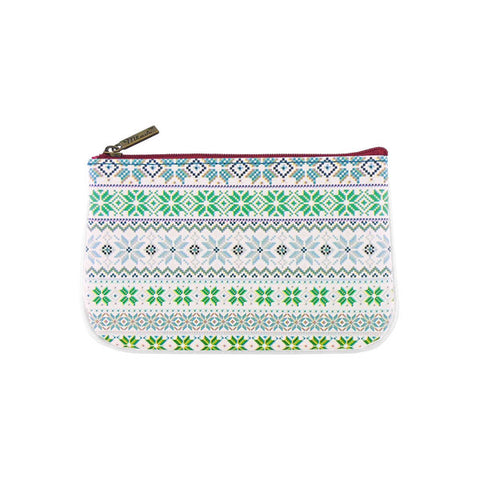 Shop Mlavi studio's whimsical Nordic Scandinavian pattern print vegan leather small pouch/coin purse made with SGS tested toxic-free Eco-friendly cruelty free vegan materials. Wholesale available at www.mlavi.com for gift shop, fashion accessories & clothing boutique in Canada, USA & worldwide.