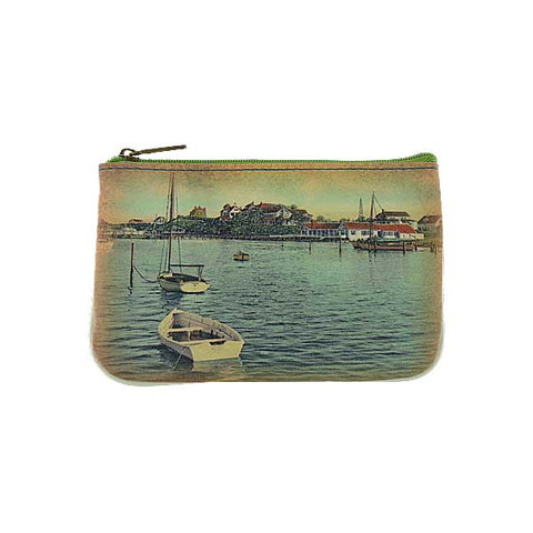 Harbor and lobster print faux leather pouch