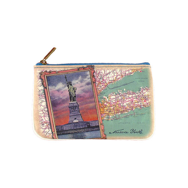 Shop Mlavi's vintage style New York Statue of Liberty vegan flat small pouch/coin purse. Great for everyday use & as a great gift for family & friends. Wholesale available at www.mlavi.com gift shops, fashion accessories & clothing boutiques.