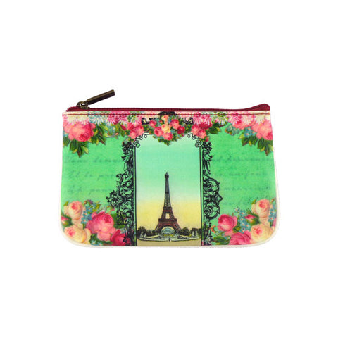 Vintage looking faux leather Paris Eiffel Tower print pouch