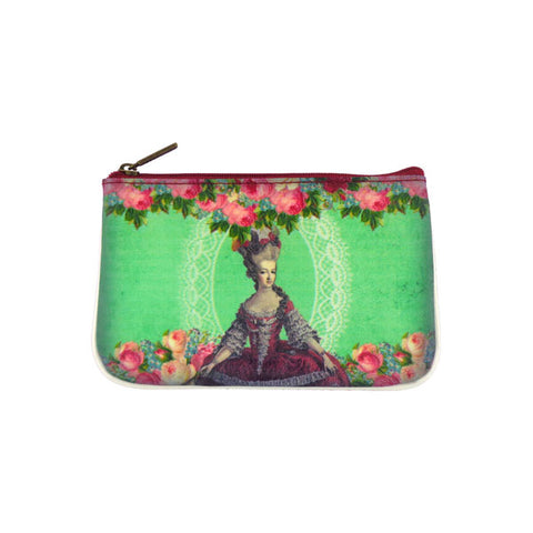 Marie Antoinette print faux leather pouch