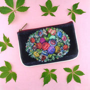 Shop Mlavi's Russian Zhostovo style flower print small pouch/coin purse made with Eco-friendly & cruelty free vegan materials. Gift shop & boutique buyer can order wholesale at www.mlavi.com for ethically made & unique fashion accessories including bags, wallets, purses, coin purses, travel accessories & gifts.