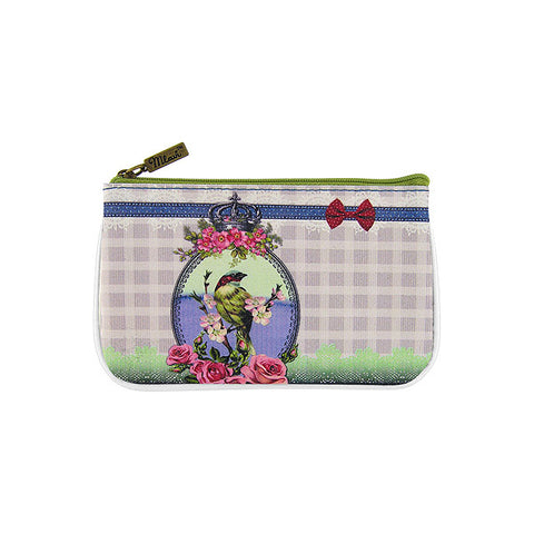 Bird with crown print faux leather pouch