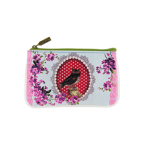 Shop Mlavi Studo's vintage kitsch style owl, flower & polka dot Print Vegan / Faux Leather small pouch / coin purse. Wholesale available at www.mlavi.com