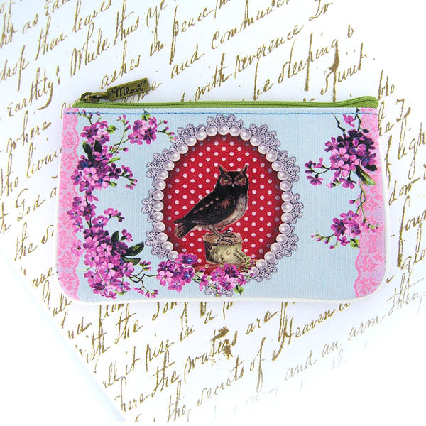Shop Mlavi Studo's vintage style owl, flower & polka dot Print Vegan / vegan leather small pouch / coin purse. Wholesale available at www.mlavi.com