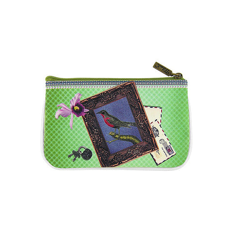 Bird on typewriter print faux leather pouch