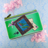 Shop Mlavi Studo's vintage style bird on typewriter Print Vegan / Faux Leather small pouch / coin purse. Wholesale available at www.mlavi.com