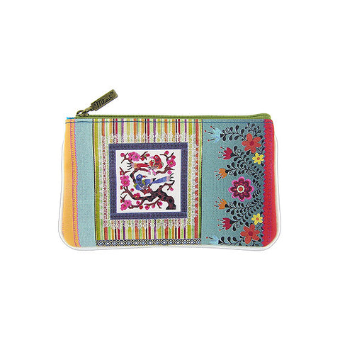 Shop Mlavi Studo's vintage style Mexican textile inspired bird & flower Print Vegan / Faux Leather small pouch / coin purse. Wholesale available at www.mlavi.com