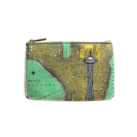 Seattle faux leather pouch-Space Needle