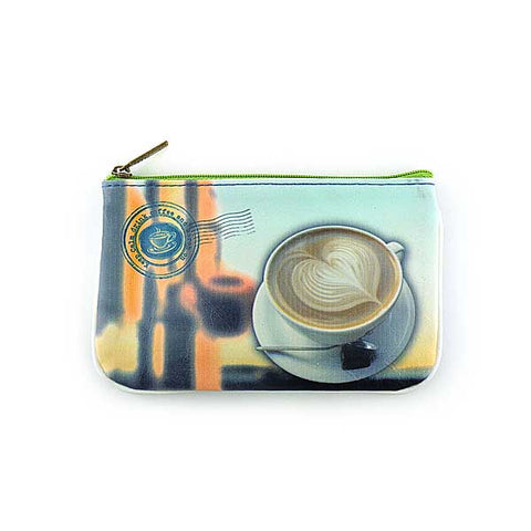 Coffee with mermaid at Seattle faux leather small pouch