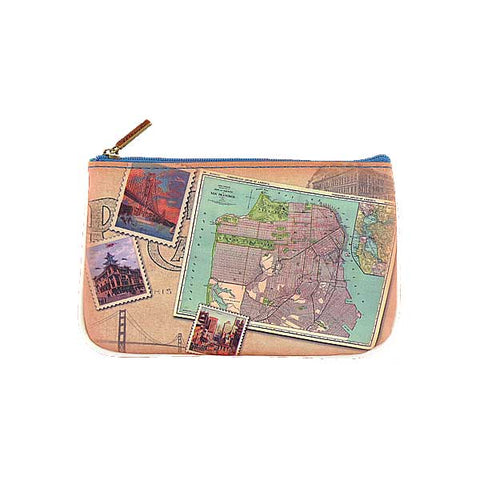 Vintage style San Francisco faux leather pouch-map