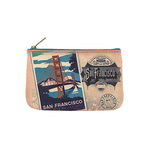 BC-SF004: San Francisco Golden Gate Bridge poster vegan small pouch/coin purse