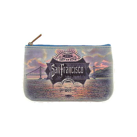 Shop Mlavi's vintage style San Francisco Golden Gate Bridge print vegan small pouch/coin purse. Great for everyday use or as a gift for your family & friends. Wholesale available at www.mlavi.com to gift shops, fashion accessories & clothing boutiques in Canada, USA & worldwide.