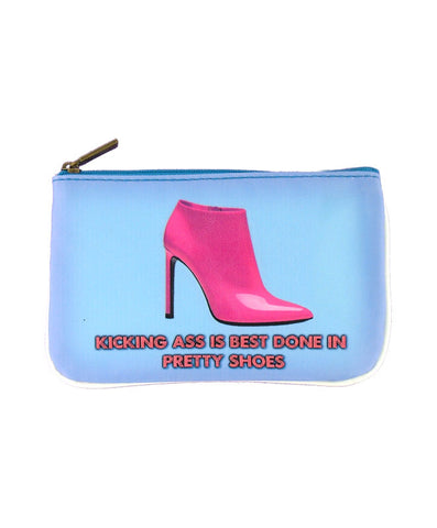 Shoe lovers' fun faux leather pouch-kick ass