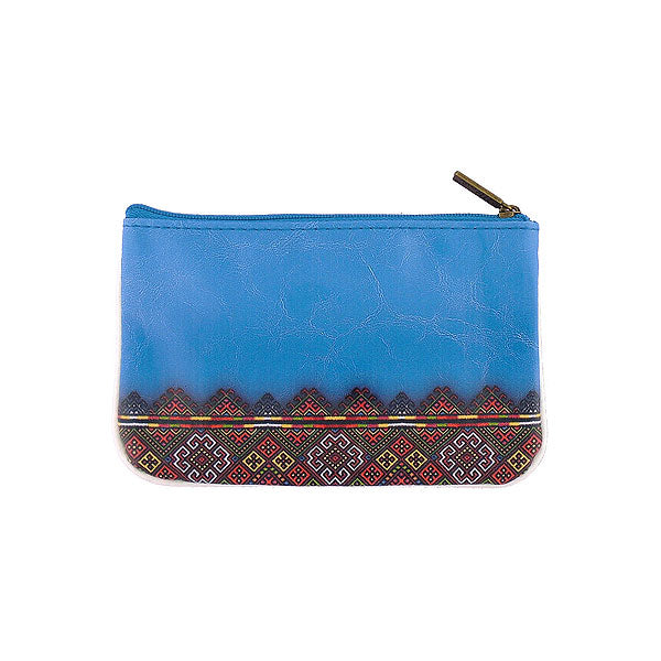 Shop Mlavi's Eco-friendly vegan leather small pouch/coin purse with Ukrainian golden yellow & blue embroidery pattern print. It's great for everyday use & a unique gift for yourself & family & friends. More Ukraine themed bags, wallets & other fashion accessories are available for wholesale at www.mlavi.com for gift shop & boutique buyers worldwide.