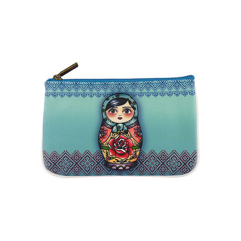 Vegan pouch features Nesting Doll Ukrainian Girl, Ukrainian traditional poppy flower embroidery pattern.