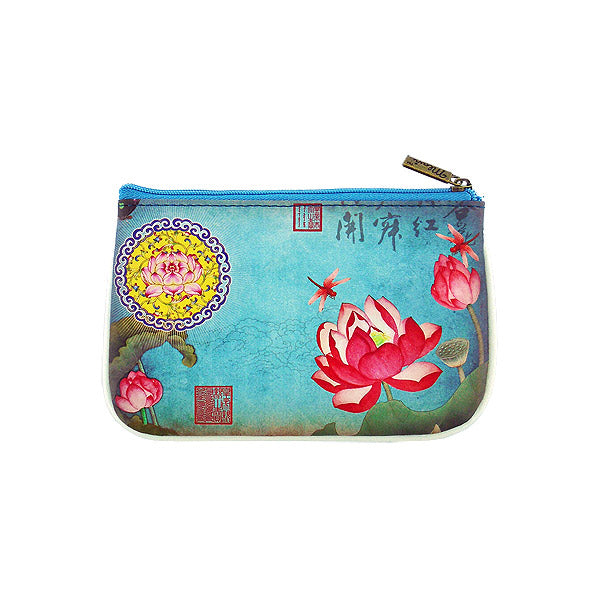 Shop Mlavi Studio's Eco-friendly vegan leather small pouch/coin purse with lotus flower & dragonfly print. It's great for everyday use & a unique gift for yourself, family & friends. More Asian themed wallets & other fashion accessories are available for wholesale at www.mlavi.com for gift shop & boutique buyers worldwide.