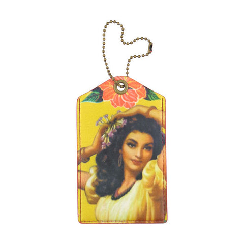 Mexican calendar girl print faux leather luggage tag - Mlavi  - 1