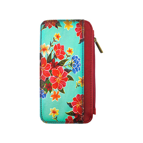 Shop Mlavi's vegan leather Mexican oil cloth flora print cardholder. Wholesale available at http://www.mlavi.com/mlavi-magnificent-mexican-themed-vegan-wallet-and-accessories-wholesale.html