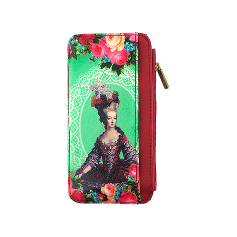 Shop Mlavi vintage style queen Marie Antoinette vegan scardholder made with durable, Eco-friendly vegan materials. It will add personality & glamour to your trip!  Mlavi wholesales Paris themed vegan bags, wallets, cardholders, luggage tags & pouches to gift shops, fashion accessories & clothing boutiques.