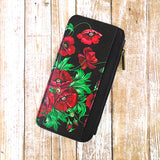 Shop Mlavi Studio's Eco-friendly vegan leather cardholder with Ukrainian poppy flower print print. It's great for everyday use & a unique gift for yourself & family & friends. More Ukraine themed bags, wallets & other fashion accessories are available for wholesale at www.mlavi.com for gift shop & boutique buyers worldwide.