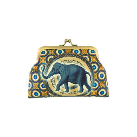Shop Mlavi vegan leather vintage style kiss lock frame coin purse features elephant illustration on the African textile pattern background. A great gift idea for yourself & your friends & family. More whimsical animal themed fashion accessories are available for wholesale at www.mlavi.com for gift shop & boutique buyer.