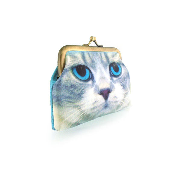 Shop for Eco-friendly, toxic-free, ethically made vegan/vegan leather kiss lock frame coin purse with cute cat print by Mlavi. Wholesale available at http://mlavi.com along with other whimsical fashion accessories
