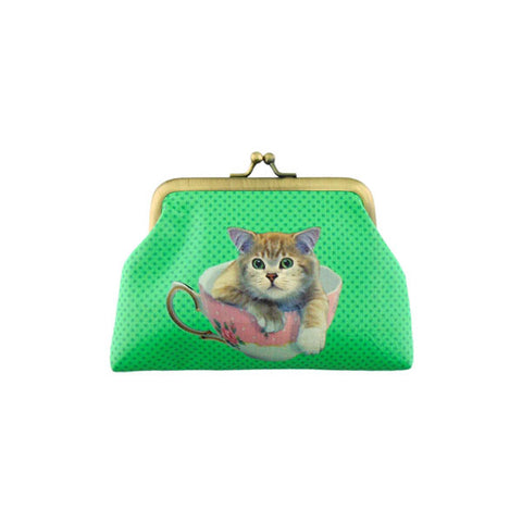 Shop for Eco-friendly, toxic-free, ethically made vegan/faux leather kiss lock frame coin purse with cute cat print by Mlavi Studio. Wholesale available at http://mlavi.com along with other whimsical fashion accessories