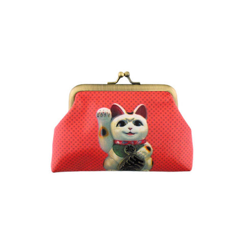 Lucky cat faux leather kiss lock frame coin purse - Mlavi  - 1