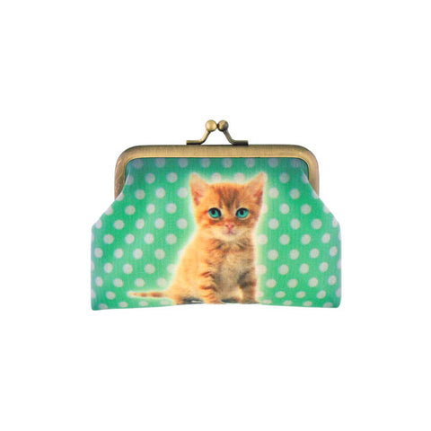 Baby cat faux leather kiss lock frame coin purse - Mlavi  - 1