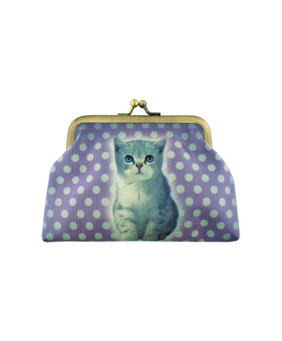 Blue eyes cat faux leather kiss lock frame coin purse