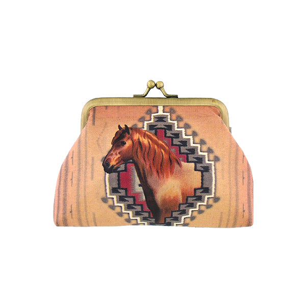 Shop Mlavi's vintage style horse print vegan kiss lock frame coin purse made with SGS tested toxic-free Eco-friendly cruelty free vegan materials. Wholesale available at www.mlavi.com for gift shop, fashion accessories & clothing boutique in Canada, USA & worldwide.