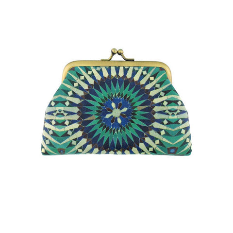 Shop Mlavi Studo's vintage style kiss lock frame Moroccan Pattern Print Vegan / Faux Leather coin purse. Wholesale available at www.mlavi.com