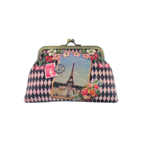 Vintage looking faux leather Paris Eiffel Tower print kiss lock coin purse diamond