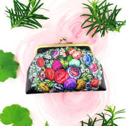 Shop Mlavi's Russian Zhostovo style flower print vintage look kiss lock frame coin purse made with Eco-friendly & cruelty free vegan materials. Gift shop & boutique buyer order wholesale at www.mlavi.com for ethically made fashion accessories--bags, wallets, purses, coin purses, travel accessories & gifts.