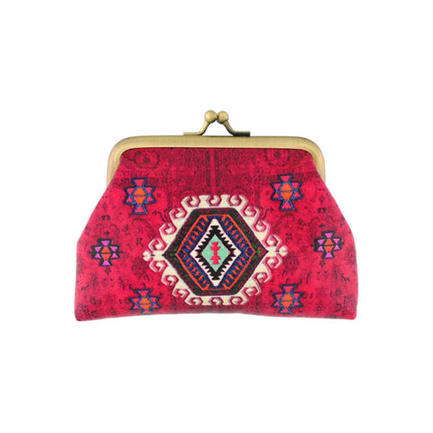 Shop Mlavi Studio's Eco-friendly, toxic-free vegan/faux leather Turkish pattern print kiss lock frame coin purse. It's wonderful for everyday use & as a unique gift for yourself or your family & friends. Wholesale is available at www.mlavi.com to gift shop & boutique buyers worldwide.