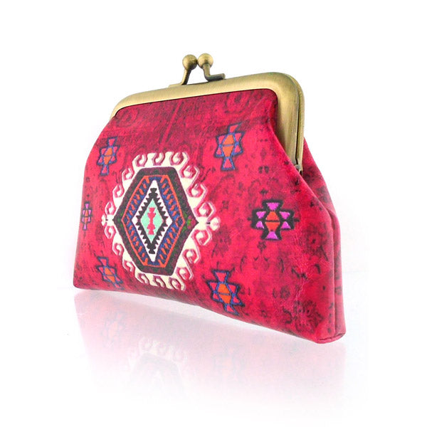 Shop Mlavi's Eco-friendly, toxic-free vegan/vegan leather Turkish pattern print kiss lock frame coin purse. It's wonderful for everyday use & as a unique gift for yourself or your family & friends. Wholesale is available at www.mlavi.com for gift shops, fashion accessories & clothing boutiques in Canada, USA & worldwide.