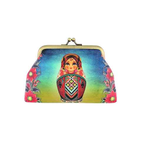 Shop Mlavi Studio's Nesting doll Ukrainian girl kiss lock frame vegan leather coin purse. Great for everyday use & a unique gift for yourself & family & friends. More Ukraine themed bags, wallets & other fashion accessories are available for wholesale at www.mlavi.com for gift shop & boutique buyers worldwide.