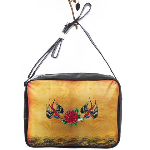 Love birds tattoo style print large messenger/laptop bag