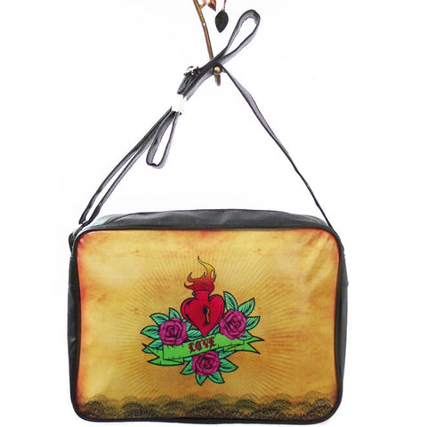 Sacred heart tattoo style print large messenger/laptop bag