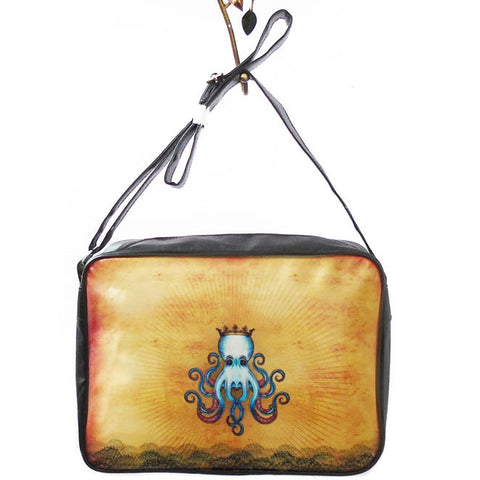 Octopus king tattoo style print large messenger/laptop bag