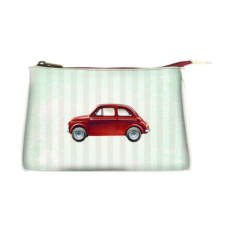 Retro Fiat car faux leather print makeup pouch