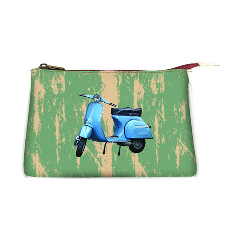 Retro scooter faux leather print makeup pouch